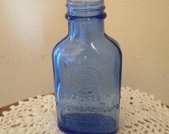 Vintage Cobalt Blue Glass Milk of Magnesia Hazel Atlas Collectible Bottle -