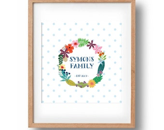 Personalised Family Name Print, Family Art Print, Personalised Printable, Floral Printable for your home wall decor, 10x10in, Square Print