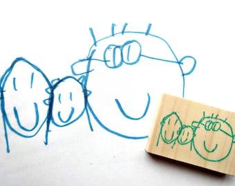 Keepsake rubber stamp, Custom stamp, Kids art, Drawing stamp, Picture stamp, Scribbling art, Personarized stamp, Memorial stamp, Gift idea