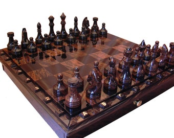 Black and brown obsidian chess set | board game | table game | stone chess set | antique chess set
