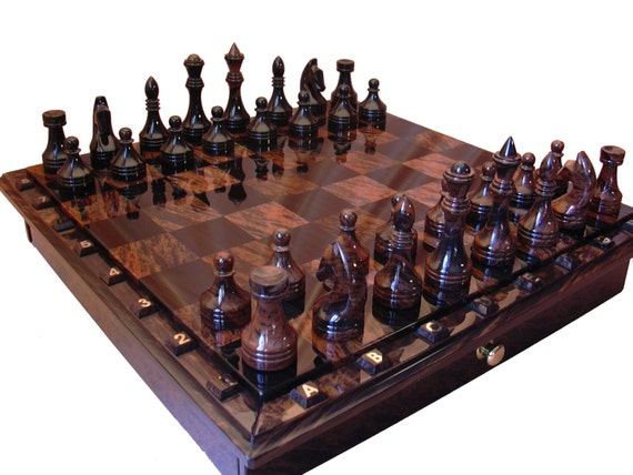Black and brown obsidian chess set board game table game - Granite chess pieces ...