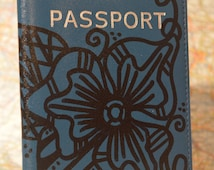 """Hand Painted Leather Passport Cover """"Navy Blue Flower""""
