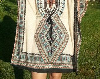 Tribal Tunic, Caftan, Rayon Kaftan, Beach Wear, Resort wear, Lounge wear, Beach Cover Up, One Size, Beach Fashion, Women Fashion