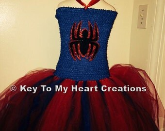 Spider girl tutu costume set with mask, spiderman Red Blue...lined top