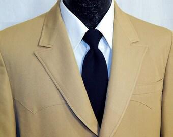 Vintage 50's Men ROCKABILLY GaB Jacket Tan Beige Cowboy Western VLV Sport Coat GABARDINE Blazer 38