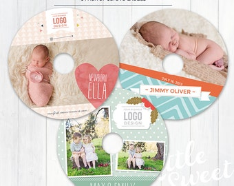 Bundle of 3 Cd/DVD Disc Labels - Photoshop Templates for Photographers - (CDVD5) - Instant DOWNLOAD