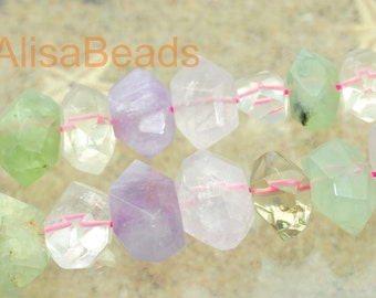 Natural Mixed Quartz,faceted Nugget Chunks,beads,11-13 wide X 14-19mm length,15 inches