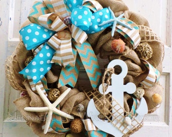 Nautical Wreath, Beach Decor, Summer Wreath, Burlap, Beach Wreath, Wood Anchor, Starfish, Beach Shells