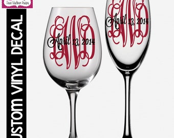 VINYL DECAL: DIY 3-Letter Monogram and Date Decals for Wine or Champagne Glass in 2-Colors