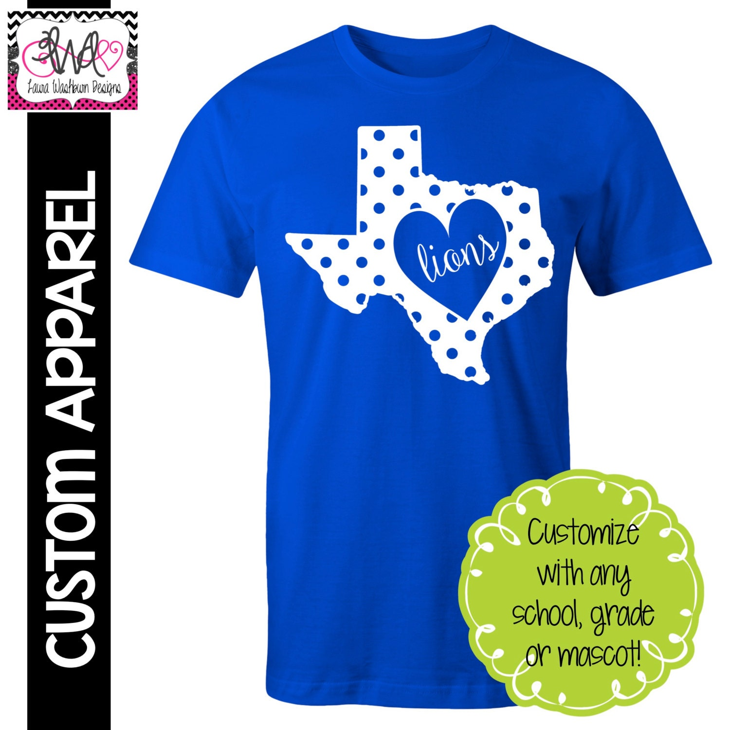 custom apparel custom polka dot state pride school spirit t shirt customize for your state. Black Bedroom Furniture Sets. Home Design Ideas