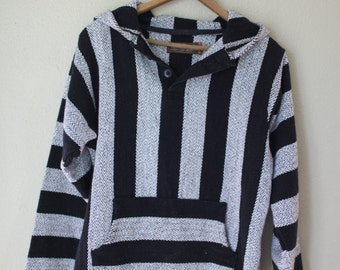vintage  black & white striped hooded mexican poncho jacket *