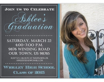 Printable Graduation Invitation, Photo Graduation Invite, Chalkboard Graduation Invite, Custom 4x6 or 5x7 size - YOU print