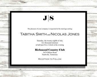 Black and White Wedding invitation Suite, Modern invitations, Wedding invitations suite
