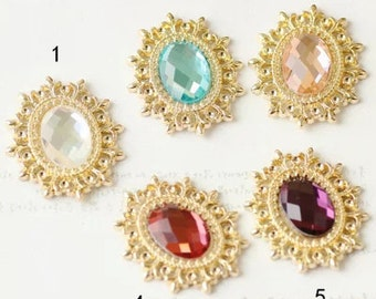 Cabochon Base Settings-10pcs antique gold  oval base flower cameo with diamond charm pendants 28x25mm