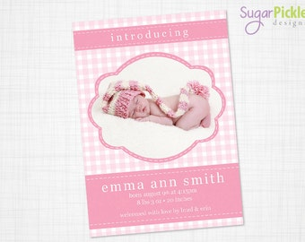 Baby Girl Birth Announcement, 5x7, baby girl, Birth announcement.