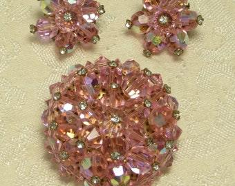 Pretty vintage retro glamour pink austrian crystal bead cluster aurora borealis crystal rhinestone pin brooch & earrings set