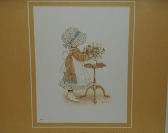 Holly Hobbie Vintage 1970s Print for Framing, Sunbonnet Girl Arranging Flowers