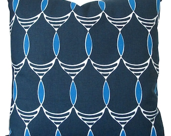 Jules Trellis In Blue/Navy-Designer Decorative Pillow Cover-Accent Pillow-Modern Geometric-Single Sided