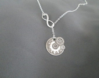 Infinite Time Clock Necklace - Lariat Style