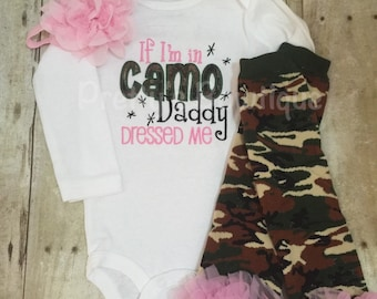 If I'm in Camo Daddy dressed me bodysuit, leg warmers and headband.  Pink Camo Can customize colors