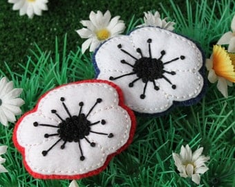 White poppy brooch - hand embroidered felt pin - Peace and remembrance - choice of background colours - made to order