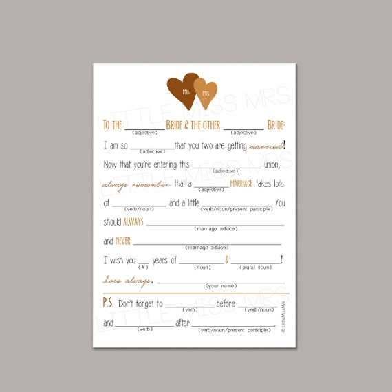 3 color options Same-sex couple Mad-lib Wedding Advice cards for the Brides-to-be