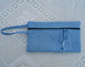 Cosmetic case or pencil case from upcycled denim jeans with lining, handmade, wrist purse, large wallet, art supply case, bank bag 166