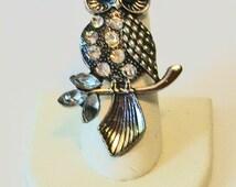 Extra Large Statement Rhinestone Owl Fashion Ring Adjustable Band
