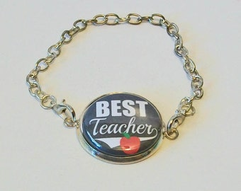 Gray and White Best Teacher Red Apple Silver Chain Fashion Bracelet