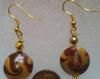 Hand crafted  gold multi color swirl earrings