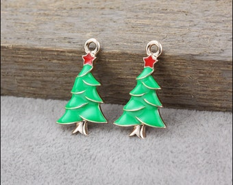 15 pcs 24x15x3mm Christmas tree charms pendant