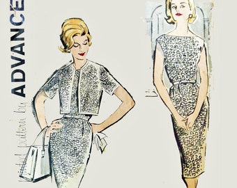 Vintage 50s Dress Pattern . 1950s Sewing Pattern . ADVANCE Pattern 9791 . 1950s Sleeveless Sheath Dress & Cropped Bolero Jacket Pattern