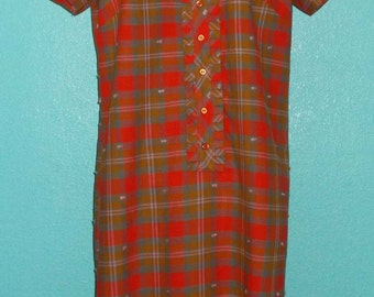 "60s Vintage ""Mr. Kolbert"" Plus Size Cotton Plaid Day Dress — Size 18 1/2"
