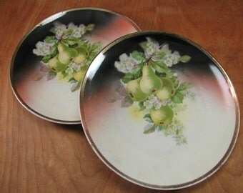 Vintage Ceramic Fruit Themed Plates - Green Pears - Hand Painted - Three Crown China - Collectible German Plate - Germany - Fruit Plates