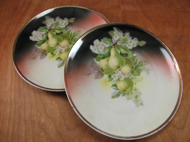 Frutta in ceramica vintage piatti a tema verde pere mano - Piatti di frutta decorati ...