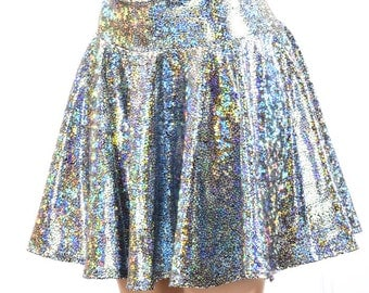 "15"" Long Silver on Black Shattered Glass Holographic Skater Skirt Full Circle Stretchy Lycra Skirt -151028"