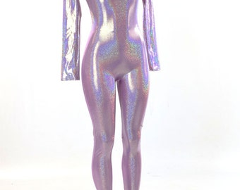 Lilac Purple Holographic Long Sleeve Metallic Catsuit    151175