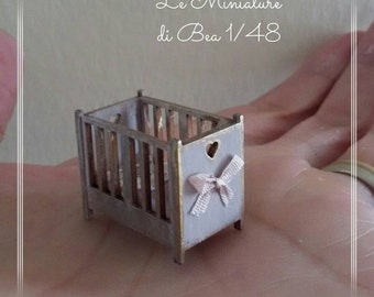 1/48 dollshouse miniatures 1/4 romantic baby girl cradle, hand made,
