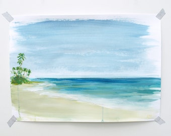 """Ocean Painting Sea Art  Acrylic // A3 - 11.5 x 16.5"""" on paper"""