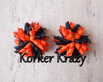 Black and Orange Mini Korker Bows