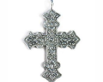 BULK 8 Ornate Floral Silver Cross Pendant Necklace for Christian Jewelry Extra Large 73x50mm by TIJC SP0997B
