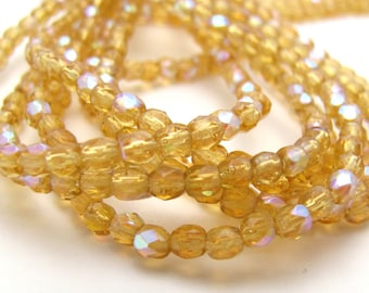 Med Topaz AB 3mm Facet Round Czech Glass Fire Polished Beads 50pc #2901