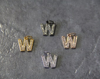 "CZ Micro Pave Letter ""W"" Charm with Jump Ring"