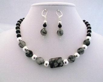 Tourmilinated Quartz, Onyx and Silver 17 inch Necklace and Earrings Set  One of a Kind