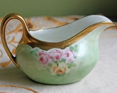 Bavarian Porcelain Creamer. Creamer with Hand Painted Roses and  22 Kart Gold Rim and Handle.  Creamer Made by  Z. S. & C.