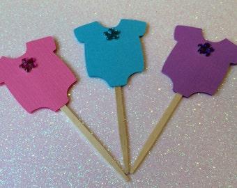 12 Onsie Cupcake Toppers