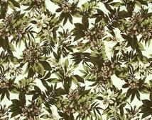 QB199-Lyocell Fabric,Tencel Fabric,Coconut Leaf & Flower Printing,Spring/ Summer Clothing Fabric  for Beach Shorts,Shirt,by 1/2 Yard Cut