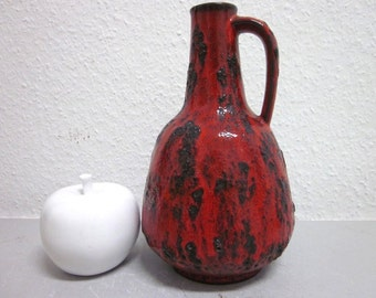 70s jug vase  Gräflich Ortenburg 605 red lava WGP Germany