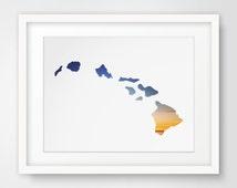 Hawaii, Hawaii Poster, Hawaii Art, Printable Decor, Tropical Art, Summer Wall Prints, Hawaii Print, Downloadable Artwork, Blue Decor