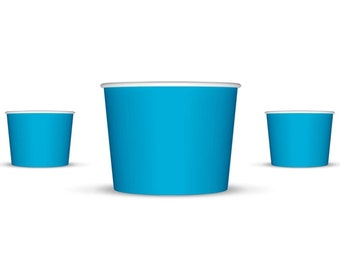 50 8 oz Blue Paper Ice Cream Cups